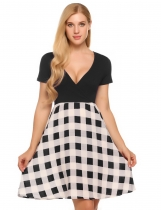 Noir Femmes Deep V-Neck manches courtes Plaid Patchwork Casual A-Line Dress