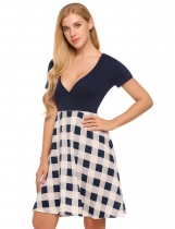Navy blue Plunging Neck Checks Patchwork Sexy A-Line Dress