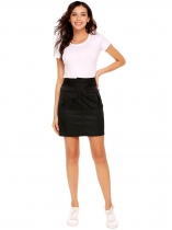 Noir Femmes Casual Printemps Été Solid Pocket Zipper Button Package Hip Sexy Skirt