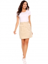 Khaki Solid Pocket Zipper Button Package Hip Skirt