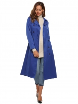 Dark blue Solid Double Breasted Long Trench Coat with Belt