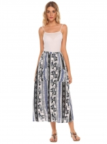 Vintage Print Elastic Waist Maxi Skirt with Pocket
