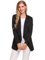 Black Women Casual Solid Turn-down Collar Long Sleeve Front Open Blazer Tops