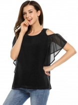 Black Solid Butterfly Sleeve Pleated Front Cold Shoulder Chiffon Blouse