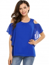 Blue Solid Butterfly Sleeve Pleated Front Cold Shoulder Chiffon Blouse