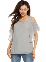Light gray Solid Butterfly Sleeve Pleated Front Cold Shoulder Chiffon Blouse