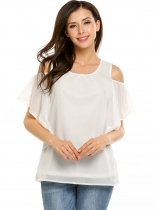 White Solid Butterfly Sleeve Pleated Front Cold Shoulder Chiffon Blouse
