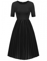 Black Short Sleeve Solid Pleated Hem Dress