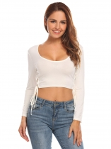 Branco Mulheres Scoop Collar manga comprida Criss Cross Lace Up Side Slim Fit Crop Top