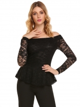 Black Lace Patchwork Slash Neck Long Sleeve Slim Tops