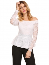 White Lace Patchwork Slash Neck Long Sleeve Slim Tops