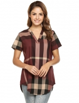 Wine red V-Neck Short Sleeve Plaid Loose Fit Tunics