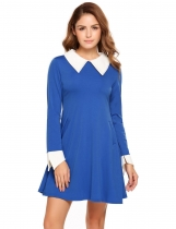 Royal Blue Doll Collar Long Sleeve Patchwork Pocket Zipper Dress