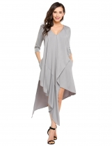 Grey V-Neck 3/4 Sleeve Solid Asymmetrical Hem Dress