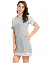 Grey O-Neck Short Sleeve Patchwork Pocket Lace Dress