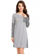Grey O-Neck Long Sleeve Patchwork Pocket Loose Dress