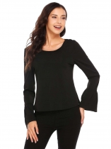 Black Solid Flare Sleeve Back Drawstring Tops