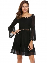 Black Flare Sleeve Chiffon Patchwork Slim Dress