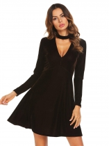 Black Stand Neck Velvet Choker Skater Dress