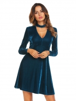 Blue Stand Neck Velvet Choker Skater Dress