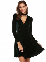 Dark green Stand Neck Velvet Choker Skater Dress