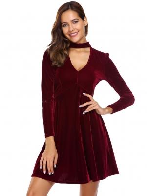 Wine red Stand Neck Velvet Choker Skater Dress 238c0c536