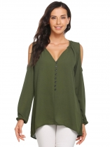 Army green Solid V-Neck Long Sleeve Cold Shoulder Chiffon Blouse
