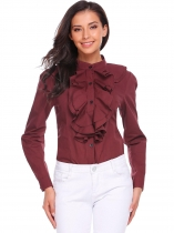 Rojo de vino Mujeres pie cuello manga larga volantes Placket Slim Fit Button Down Shirt