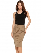 Brown Elastic Waist Package Hip Ruched Pencil Skirt