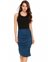 Dark blue Elastic Waist Package Hip Ruched Pencil Skirt