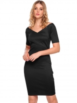 Black V-Neck Backless Solid Pencil Dress