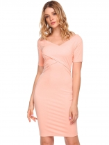 Pink V-Neck Backless Solid Pencil Dress
