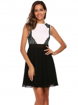 Black Sleeveless Lace Chiffon Patchwork Short Dress