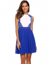 Blue Sleeveless Lace Chiffon Patchwork Short Dress