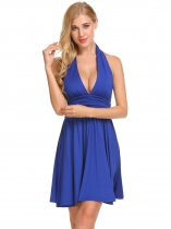 Royal Blue Sexy Halter Deep V Backless Ruched Waist Pleated Cocktail Dress