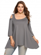 Gray Plus Sizes Cold Shoulder 3/4 Sleeve Asymmetric Tops