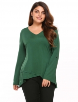 Dark green Plus Sizes V Neck Long Sleeve Asymmetrical Tops