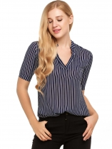 Blue Notch Neck Short Sleeve Striped Chiffon Blouse