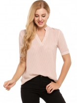 Pink Notch Neck Short Sleeve Striped Chiffon Blouse