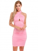 Pink Hommes Froid Épaule Croix Croche Hollow Out Ruched Solid Slim Fit Bodycon Dress