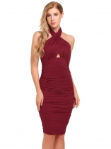 Wine red Cross Neck Hollow Out Ruched Slim Dress