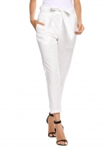 White Ruffles Elastic Waist Tie Up Solid Pencil Pant with Pocket