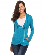 Blue Asymmetry Long Sleeve Solid Front Zipper Cardigans