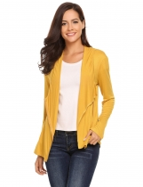 Yellow Asymmetry Long Sleeve Solid Front Zipper Cardigans