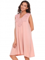 Pink Sleeveless V Neck A-line Lace Stitching Dress