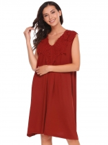 Wine red Sleeveless V Neck A-line Lace Stitching Dress