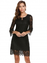 Noir Women Lace Up Keyhole 3/4 Flare Sleeve Floral Slim Fit Party Dress