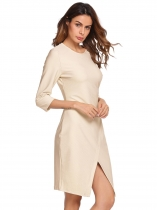 Nude Femmes Casual 3/4 Sleeve Solid O Neck Business Cocktail Asymétrique Robe à crayon