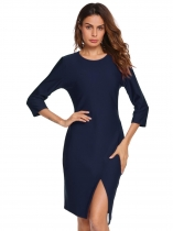 Navy blue Femmes Casual 3/4 Sleeve Solid O Neck Business Cocktail Asymétrique Robe à crayon