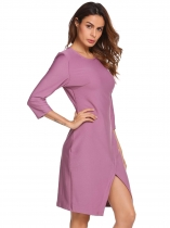 Purple 3/4 Sleeve Solid Split Hem Business Dress